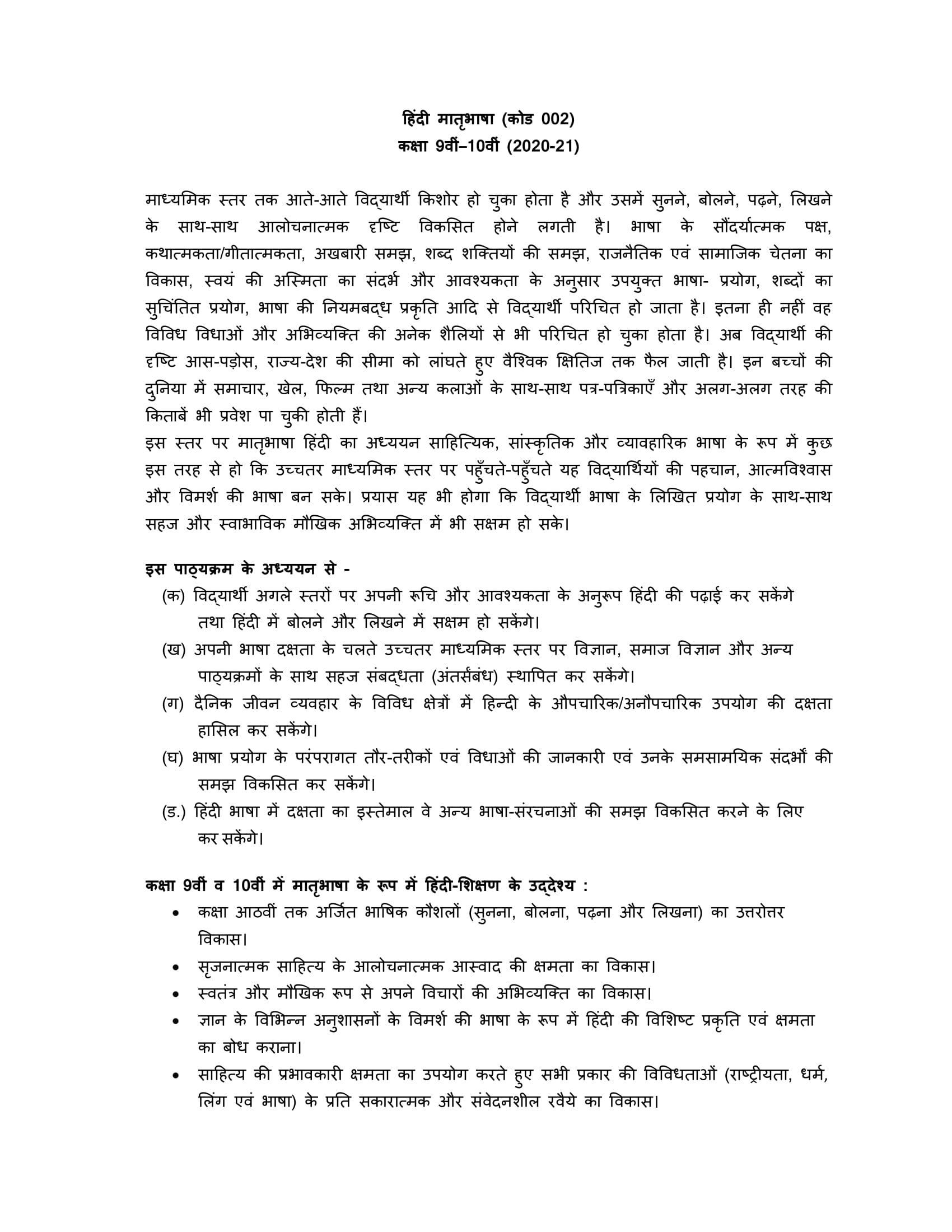 Hindi A Sec 2020 21 class 9 10 01