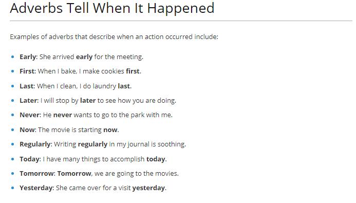 adverb tells when it happens