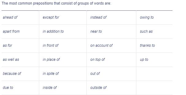 multiple word prepositions