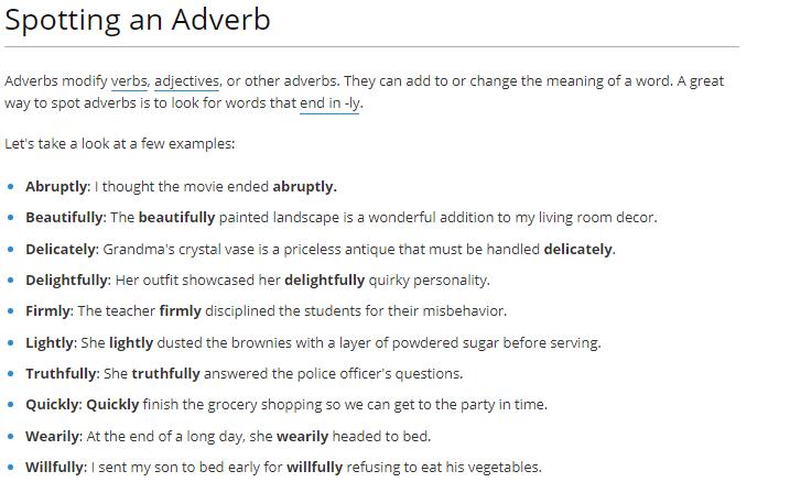 spoting an adverb