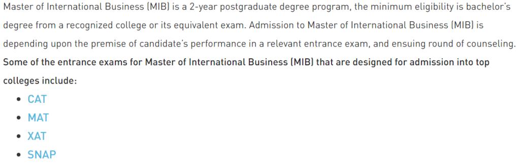 master of international busines career options