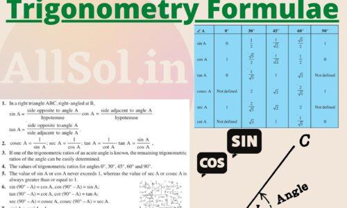 Trigonometry Formulas for Class 10 NCERT