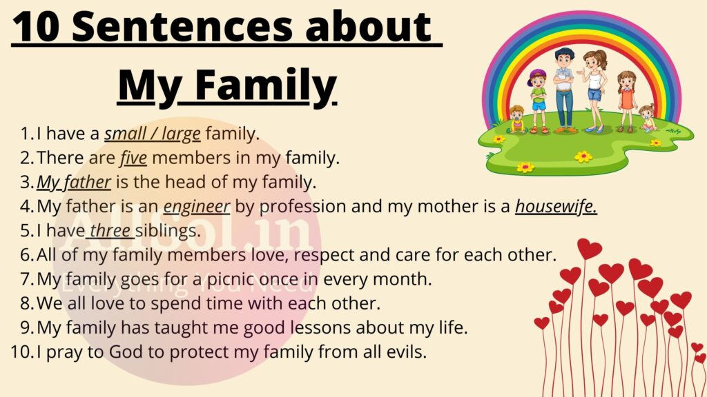 10 Sentences about My Family