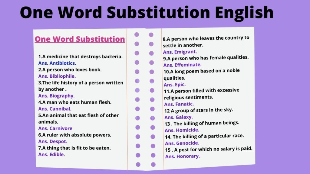 One Word Substitution English